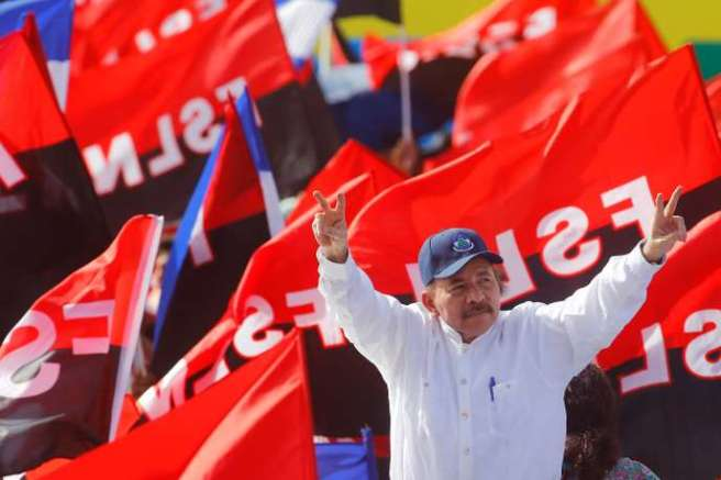 Nicaragua's President Daniel Ortega arrives for an event to mark the 39th anniversary of the Sandinista victory over President Somoza in Managua